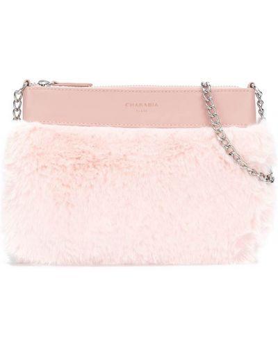С ремешком кожаный розовый клатч на цепочке на молнии Charabia