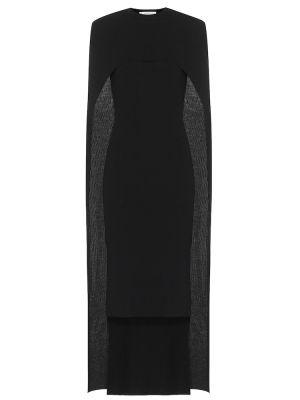 Wełniany czarny asymetryczny sukienka midi Givenchy