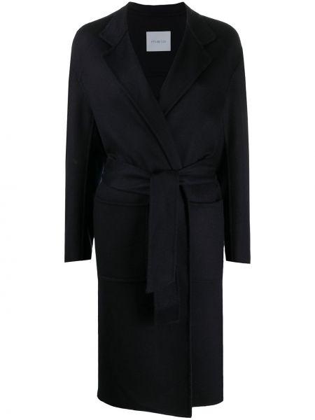 Синее кашемировое пальто классическое с капюшоном Malo
