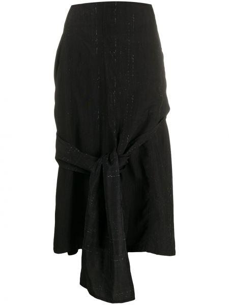 Черная с завышенной талией юбка из вискозы Yohji Yamamoto Pre-owned