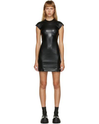 Skórzany czarny sukienka mini z kołnierzem krótkie rękawy Misbhv