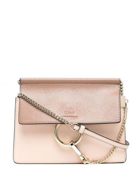 Skórzany różowy torba crossbody z kieszeniami Chloe