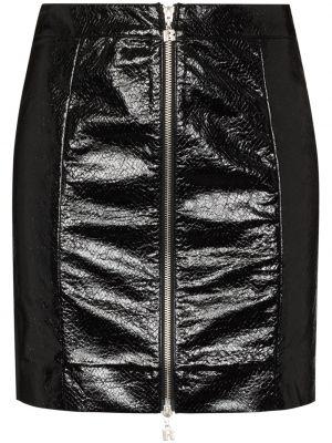 Кожаная юбка - черная Rotate