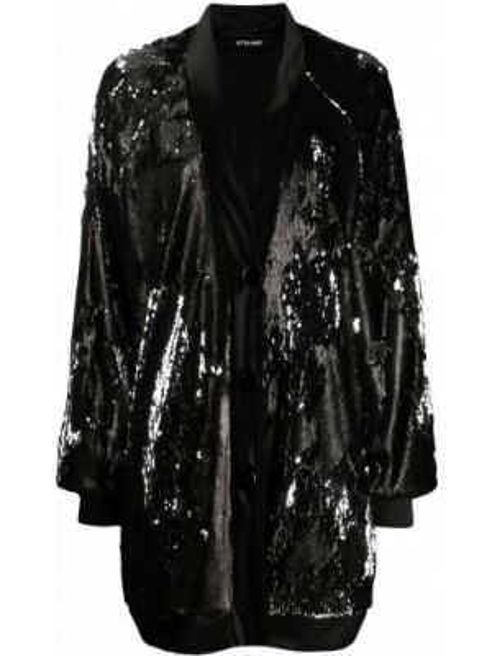 Черное пальто с вырезом Styland