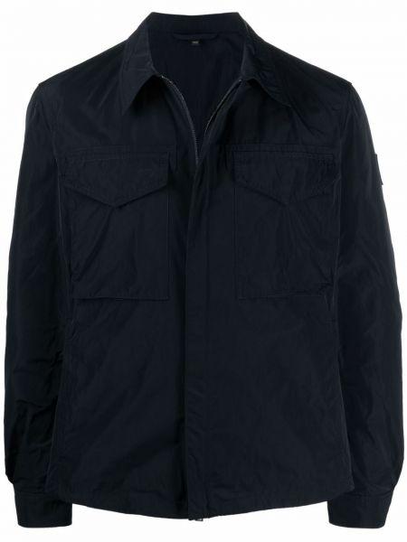 Klasyczna czarna długa kurtka z długimi rękawami Belstaff