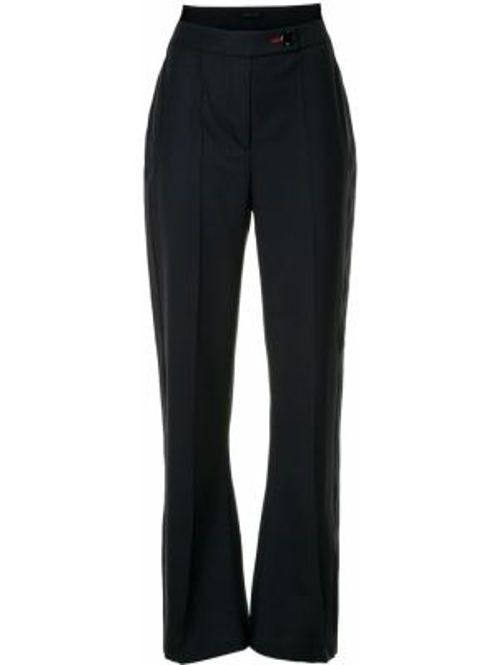 Синие шерстяные расклешенные брюки с карманами Eudon Choi