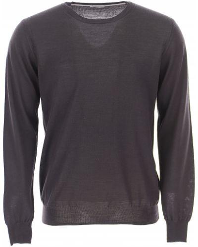 Czarny sweter bawełniany z długimi rękawami Paolo Pecora