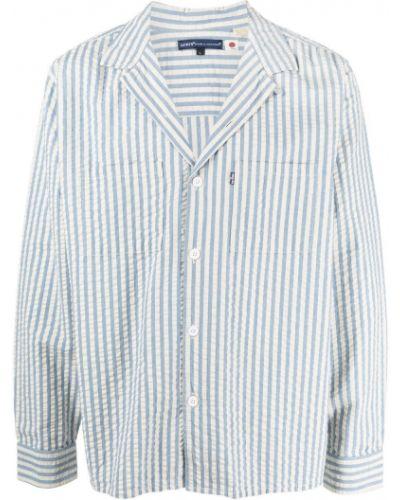 Хлопковая синяя рубашка в полоску Levi's®  Made & Crafted™