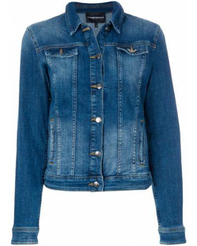 Джинсовая куртка длинная на пуговицах Emporio Armani