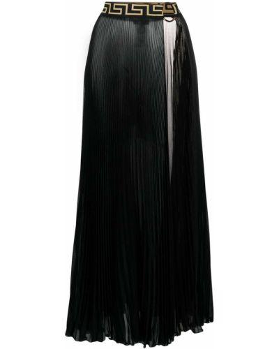 Czarny pareo z szyfonu Versace