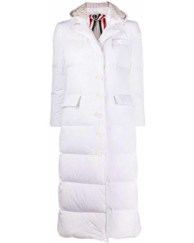 Белое длинное пальто на пуговицах с манжетами Thom Browne