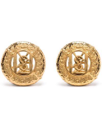 Złote spinki do mankietów Yves Saint Laurent Pre-owned