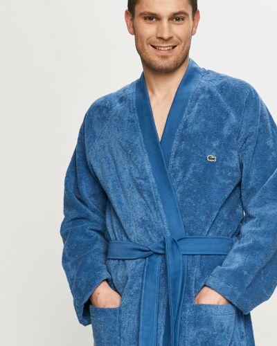 Niebieski szlafrok bawełniany Lacoste