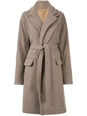 Коричневое шерстяное пальто с лацканами с карманами Nehera