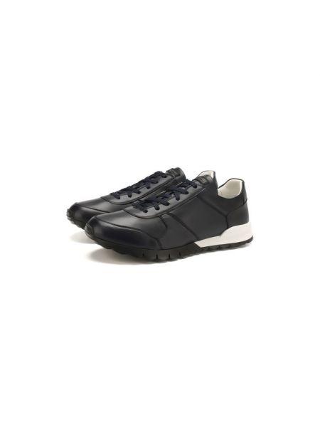 Синие кроссовки из плотной ткани с подкладкой Kiton