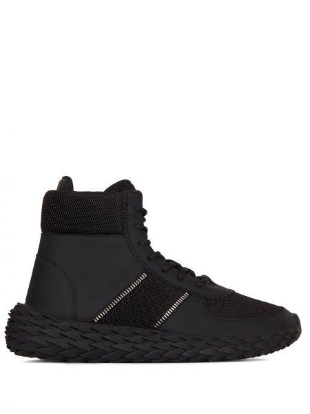 Ażurowy czarny włókienniczy sneakersy z siatką Giuseppe Zanotti