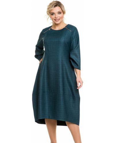 С рукавами платье миди бохо в клетку Novita