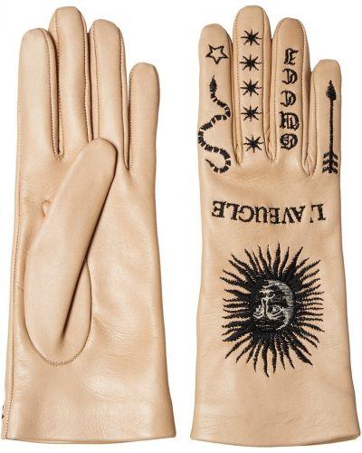 Розовые кожаные перчатки с вышивкой Gucci
