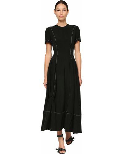 Платье миди с короткими рукавами - черное Loewe