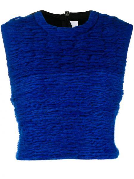 Синий шерстяной топ с вышивкой No Ka 'oi