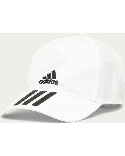 Biały kapelusz materiałowy z printem Adidas Performance