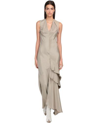 Шелковое платье макси с декольте на бретелях с воротником Max Mara