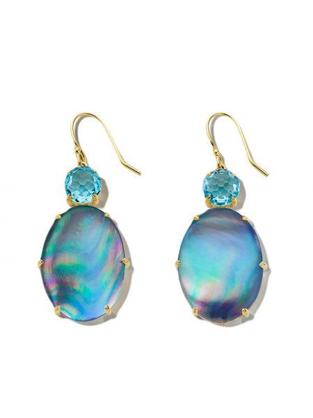 Niebieskie złote kolczyki sztyfty perły Ippolita
