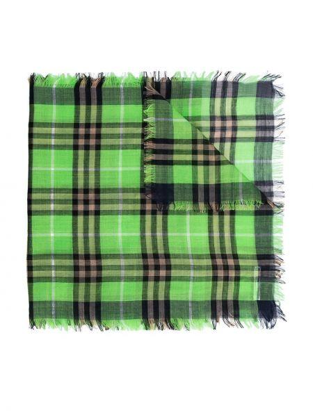 Зеленый шерстяной шарф в клетку Burberry Kids