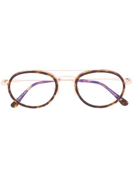 Brązowy oprawka do okularów okrągły metal Tom Ford Eyewear