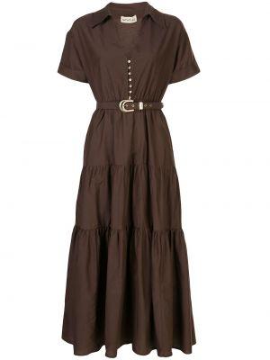 Коричневое шелковое платье мини на пуговицах с короткими рукавами Nicholas