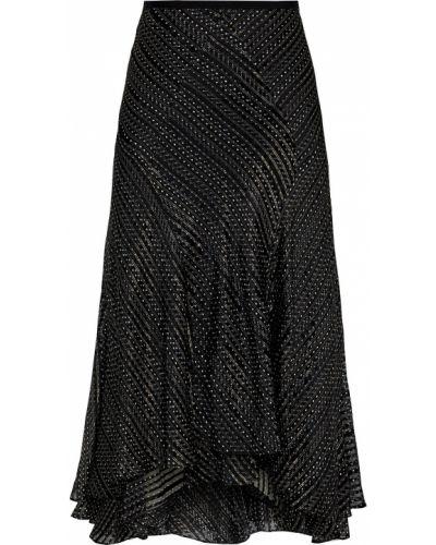 Шелковая черная юбка миди с подкладкой Diane Von Furstenberg