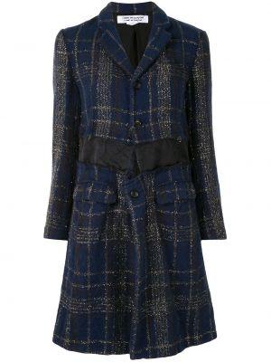 Синее шерстяное пальто классическое в клетку Comme Des Garçons Comme Des Garçons