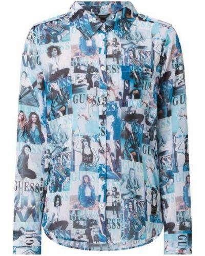 Bluzka z długimi rękawami z szyfonu turkusowa Guess