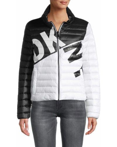 Черная длинная куртка с воротником с карманами Dkny