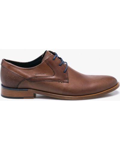 Туфли на шнуровке текстильные коричневый Wojas