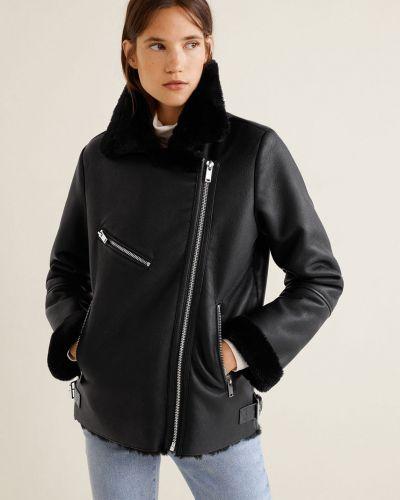 Кожаная куртка в клетку с карманами Mango