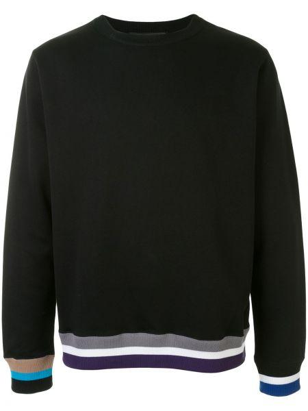 Черный свитер с нашивками в рубчик с вырезом Sophnet.