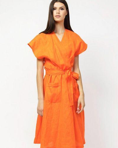 Оранжевое платье с запахом Dasti