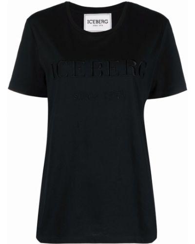 Черная прямая футболка с вырезом с вышивкой Iceberg
