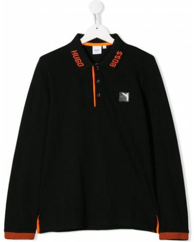 Рубашка черная стрейч Boss Kids