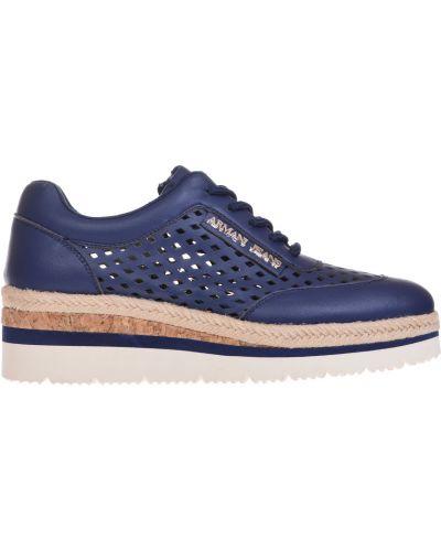 Синие кроссовки на платформе Armani Jeans