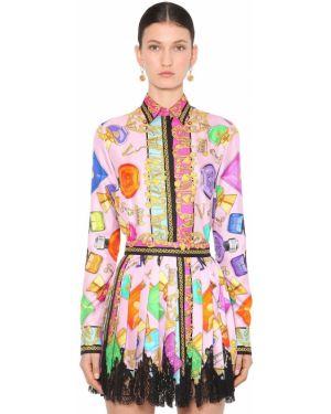 Классическая рубашка с принтом атласная Versace