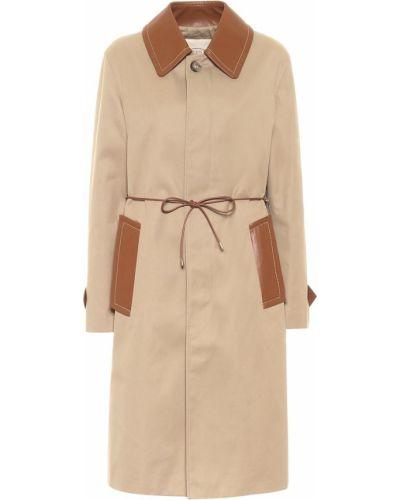 Ватное бежевое пальто классическое с опушкой из габардина Tod's