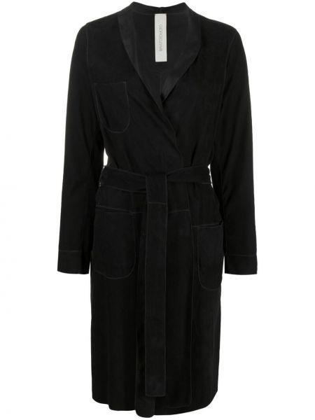 Черное кожаное длинное пальто с запахом Giorgio Brato