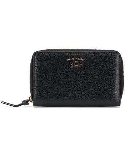 Кожаный кошелек на молнии черный Gucci