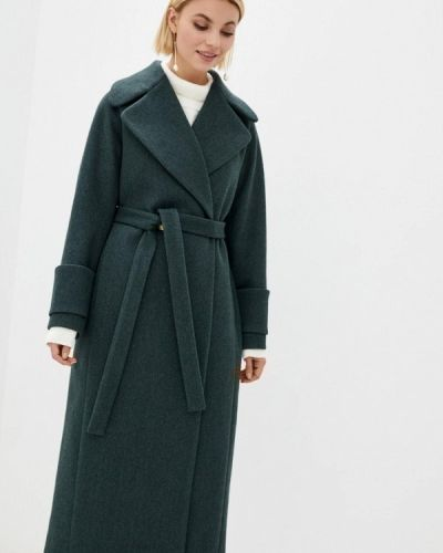 Бирюзовое пальто двубортное Sfn