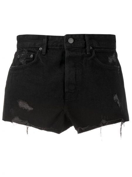 Czarne krótkie szorty z paskiem bawełniane Grlfrnd