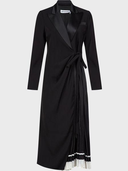 Черное платье с поясом Self-portrait
