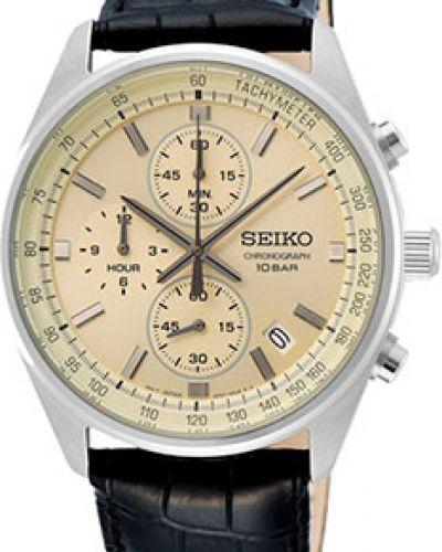 С ремешком кожаные часы на кожаном ремешке круглые Seiko