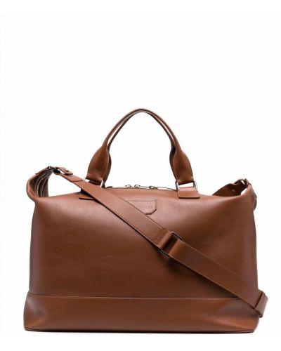 Коричневая кожаная дорожная сумка на молнии Billionaire